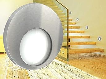 led wandeinbauleuchte kama edelstahl oder graphit treppenleuchte rund f r 60mm unterputzdosen. Black Bedroom Furniture Sets. Home Design Ideas