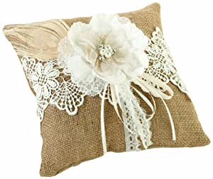 Amazon.com: Lillian Rose Burlap and Lace Ring Pillow, 8-Inch: Home