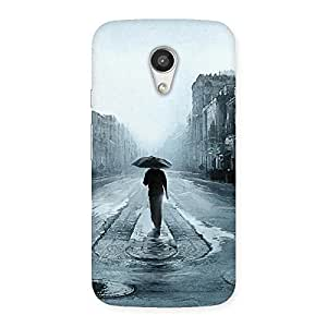 Stylish Beautiful Walking Rain Multicolor Back Case Cover for Moto G 2nd Gen