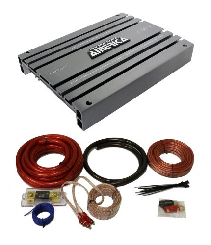 NEW PYRAMID PB3818 5000 Watt 2-Channel Car Audio Amplifier + 1/0 Gauge Amp Kit