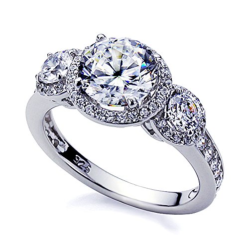 Platinum Plated Sterling Silver 2ct Round CZ Three Stone Halo Engagement Ring ( Size 5 to 9 ), 9