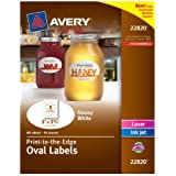 Avery Print - To - The - Edge Oval Labels, 2 x 3.3 Inches,Glossy White, 80 Labels (22820)