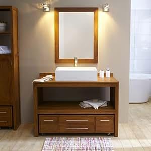 Waschbeckenunterschrank waschtisch gebeizt teak for Conforama meuble salle de bains