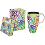 Watery Flower Blooms Ceramic Latte Travel Cup with Gift Box