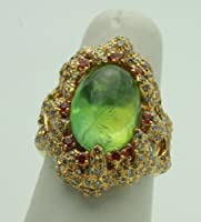18k Yellow Gold Bi Colored Diamond Ring with Green Tourmaline Center Gemstone