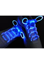 Hoter NEW Magically LED Flashing Light Up Shoe-laces lighting with Blue, Red, Green, Pink, Orange and Yellow to choose! - blue