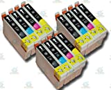12 Chipped Epson T0711-4 (T0715) Cheetah Compatible Ink Cartridges for Epson Stylus DX9400F Printer
