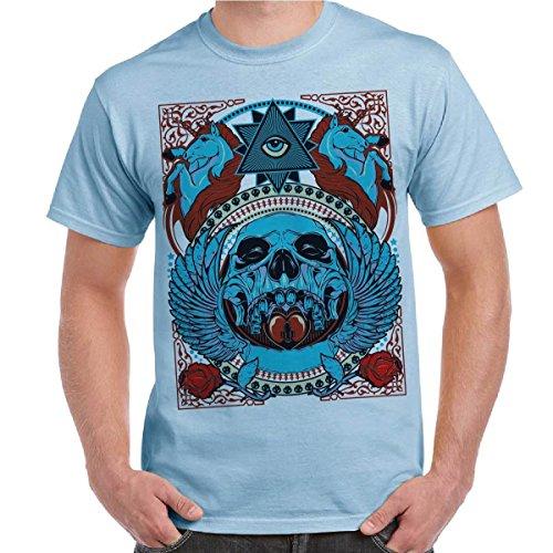 T-Shirt UrbanStyle Skull&Roses Maglietta Uomo Cotone Con Stampa Illuminati Skull CHEMAGLIETTE! ..., Colore: Celeste, Taglia: M
