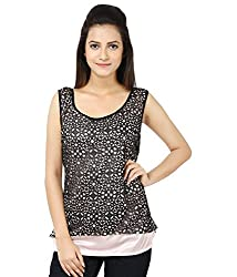 Whistle Women's Lycra Black and Peach Casual Sleeveless Top