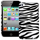 Slim Fitted Black & White Zebra XYLO-Shell Hard Back Cover Case for the Apple iPod Touch 4 4G (8GB 32GB 64GB).