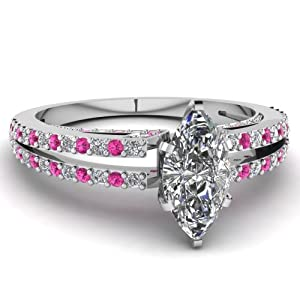 Fascinating Diamonds 0.85 Ct Marquise Cut Diamond & Pink Sapphire Dazzling Engagement Ring SI1 14K GIA