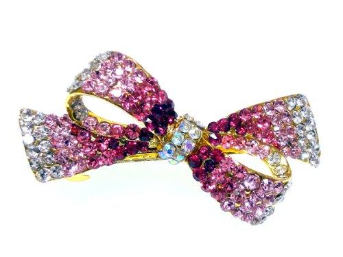 ヘアアクセサリー お姫様系 ピンクグラデーションリボンのきらきら バレッタ バンスクリップ