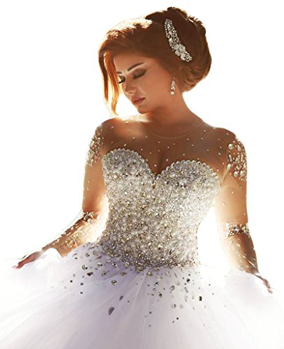 SunnyGirl Gorgeous 2016 Pearls Beading Long Sleeves Ball Wedding Dresses for Bride Ivory 10