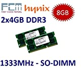 FCM / HYNIX (Mihatsch & Diewald) 8GB Dual Channel Kit 2 x 4 GB 204 pin DDR3-1333 (1333Mhz, PC3-10600, CL9) - für Apple MacBook Pro 8,1 8,2 8,3 + iMac 11,2 11,3 12,1 12,2 + mac mini 5,1 5,2 5,3 und alle aktuellen Core i3/i5/i7 Notebooks