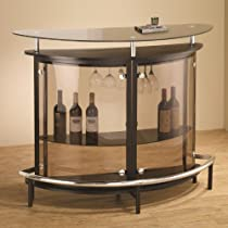 Hot Sale Coaster Contemporary Tempered Glass Smoked Cappuccino Bar Unit