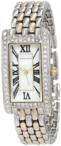 Anne Klein Women's AK/1077MPTT Swarovski Crystal Accented Rectangle Two-Tone Bracelet Watch