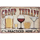 """Group Therapy Practiced Here Retro Vintage Tin Sign 12"""" X 8"""" Inches, a Two-sided Postcard Made By Smiel Buy Is Included"""