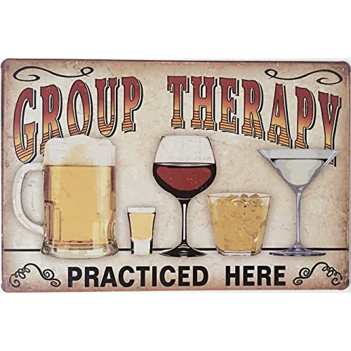 "Uniquelover Group Therapy Practiced Here Retro Vintage Tin Sign 12"" X 8"" Inches"