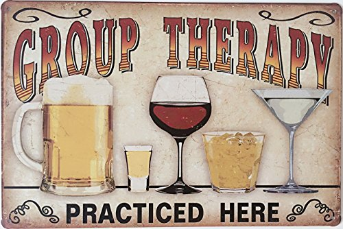 "Uniquelover Group Therapy Practiced Here Retro Vintage Tin Sign 12"" X 8"" Inches 0"