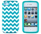 DandyCase 2in1 Hybrid High Impact Hard Aqua & White Chevron Pattern + Silicone Case Case Cover For Apple iPhone 4S & iPhone 4 + DandyCase Screen Cleaner