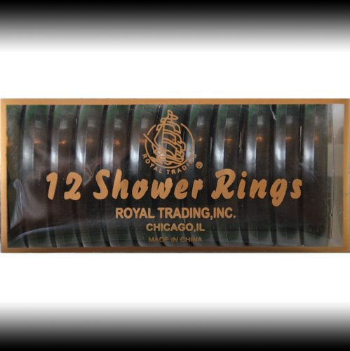 BLACK 12-Piece Plastic Shower Curtain Rings. Snap-lock.