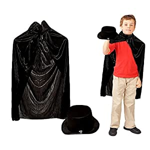 Toy Cubby Adorable Pretend and Play Magician Cape and Magician Hat - 1 Set