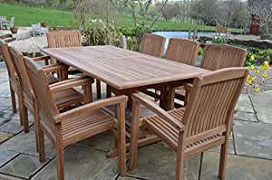 Canterbury 6 Seater Garden Set - Solid Teak 1.5m / 5ft Rectangular Fixed Table with Fixed Armchairs