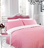 POLKA DOT DUVET COVER - Reversible Cotton Blend Bedding Bed Set Pink & White Double Duvet Cover ( soft shabby chic )