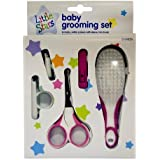 New Born Babies Manicure Set with GROOMING KIT - WITH SAFETY SCISSORS, NAIL CLIPPERS, SOFT BRUSH (Pink - Girls)