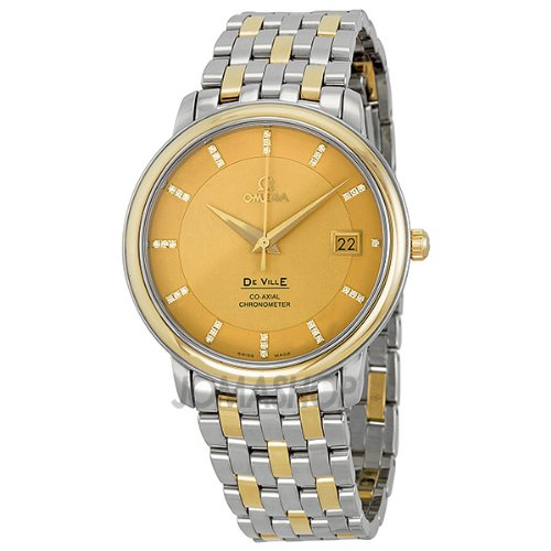Omega DeVille Prestige Champagne Diamond Dial Steel and Yellow Gold Mens Watch 4374.15