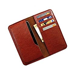 i-KitPit : PU Leather Wallet Flip Pouch Case For Micromax Canvas Doodle 2 A240 (BROWN)