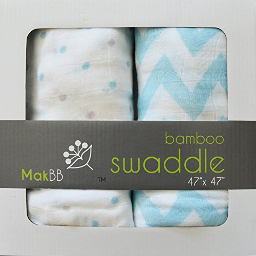 "MakBB Baby Swaddle Blanket, Bamboo Rayon, 2 count 47"" x 47"" (Blue - Boy)."