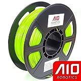 AIO Robotics AIOBRIGHTGREEN PLA 3D Printer Filament, 0.5 kg Spool, Dimensional Accuracy +/- 0.02 mm, 1.75 mm, Bright Green