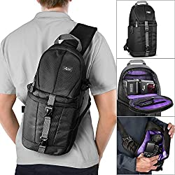 Essential Protection Kit for DSLR Cameras (Canon Nikon Sony Pentax) - Includes: Digital DSLR/SLR Camera Sling Backpack + Altura Photo Lens Pouch Set + Filter Pouch + Altura Photo Cleaning Kit + MagicFiber Microfiber Lens Cleaning Cloth