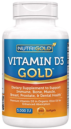Nutrigold Vitamin D3 5000 IU, 360 Mini Softgels