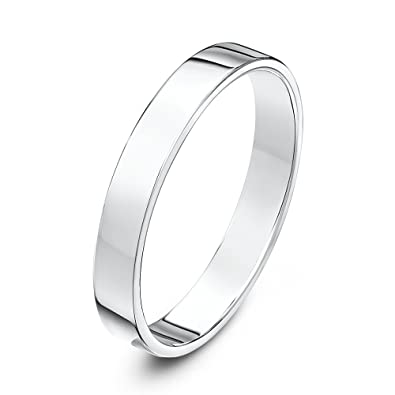 18ct White Gold 3mm Light Weight Flat Court Shape Wedding Ring