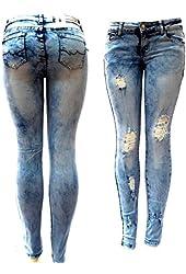 Juniors WOMENS Acid Wash BLUE Denim JEANS Destroy Skinny Ripped Distressed Pants