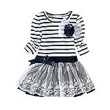 Happy Rose Little Girls' Dress Striped Flower Long Sleeve Navy Stripes 12 years