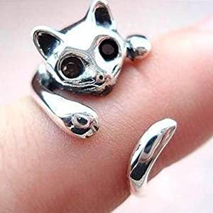 SODIAL(R) Anillo del gato metal-Ajustable