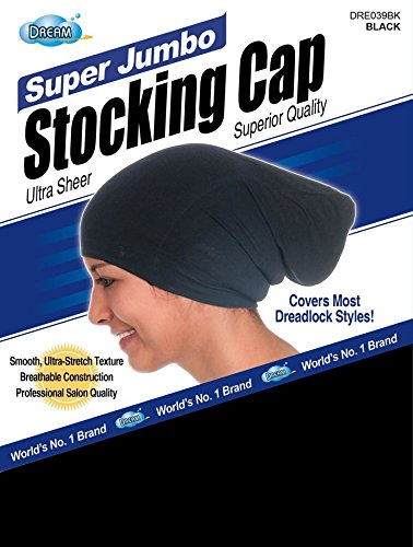 Dream Super Jumbo Ultra-Stretch Stocking Cap BLACK DRE039BK (Dreadlock Stocking Cap compare prices)