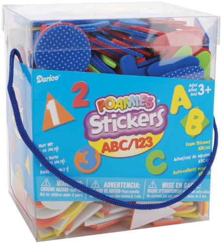 Darice 1040-72 Foamies Bucket of Stickers, ABC and 123, 5-Ounce, Assorted