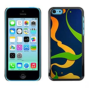 Omega Covers - Snap on Hard Back Case Cover Shell FOR Apple iPhone 5C - Orange Green Lines Swirl Abstract Clean