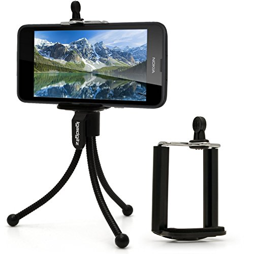 iGadgitz-Black-Flexible-Mini-Table-Top-Tripod-with-Pocket-Clip-Standard-Smartphone-Holder-Mount-Bracket-Adapter-for-Nokia-Lumia-1520-1020-830-735-930-635-925-Icon