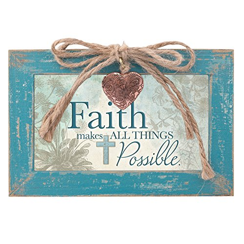 Faith Makes All Things Possible Teal Wood Locket Jewelry Music Box Plays Tune Amazing Grace 1