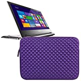Evecase Premium Neoprene Sleeve Case Travel Carrying Storage Computer Bag for Lenovo Flex 2 14-Inch Touchscreen Laptop - Purple