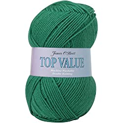 James Brett Top Value DK Double Knitting Wool 100% Acrylic Yarn 100g Ball (Jade Green 845)