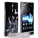 Sony Xperia S LT26i Black / Silver Butterfly Floral IMD Hard Hybrid Back Case Cover With Screen Protector Film And Grey Micro-Fibre Polishing Clothby Yousave Accessories