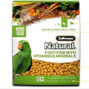 ZUPREEM 230356 Natural Medium/Large Bird Food, 20-Pound