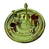 Puja Thali Brass Set Om Gayatri Mantra With 6 Pooja Accessories Set