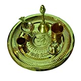 Puja Thali Brass Set Om Gayatri Mantra with 6 Pooja Accessories set